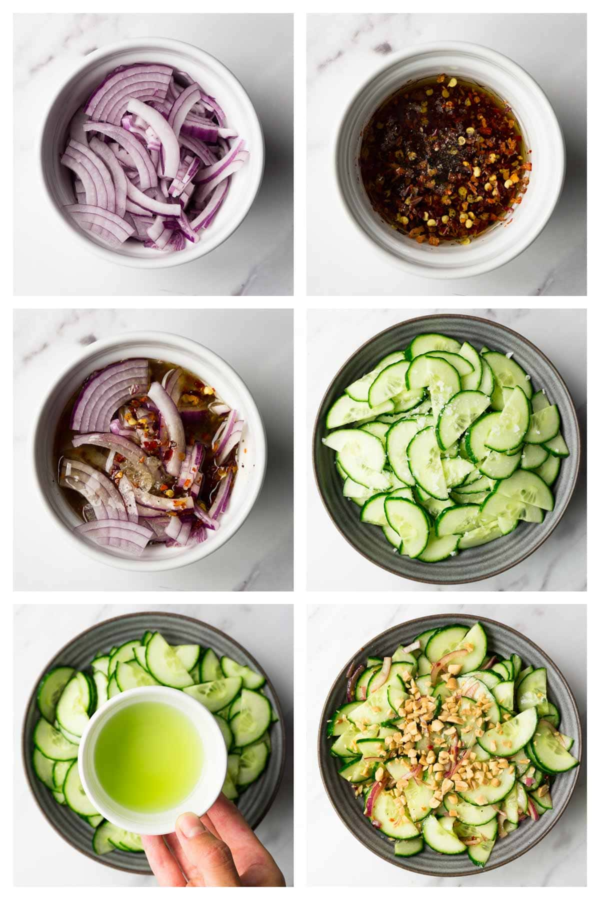 6 steps collage image showing how to make keto cucumber salad.