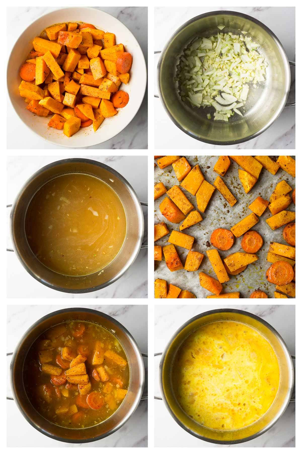 Step by step collage image showing how to make keto butternut squash soup.