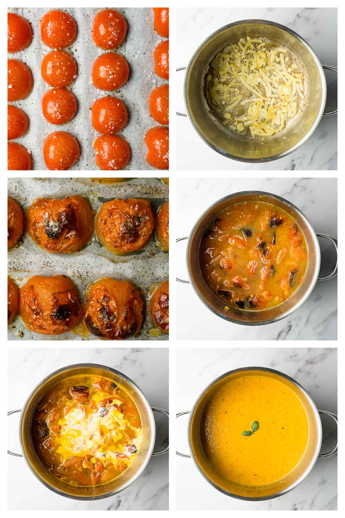 6 steps collage image showing how to make keto tomato soup.