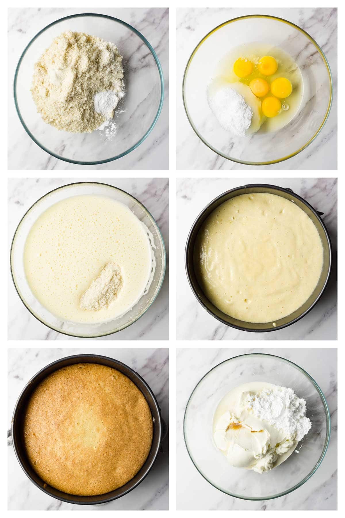 6 steps collage image showing how to make keto layer cake.