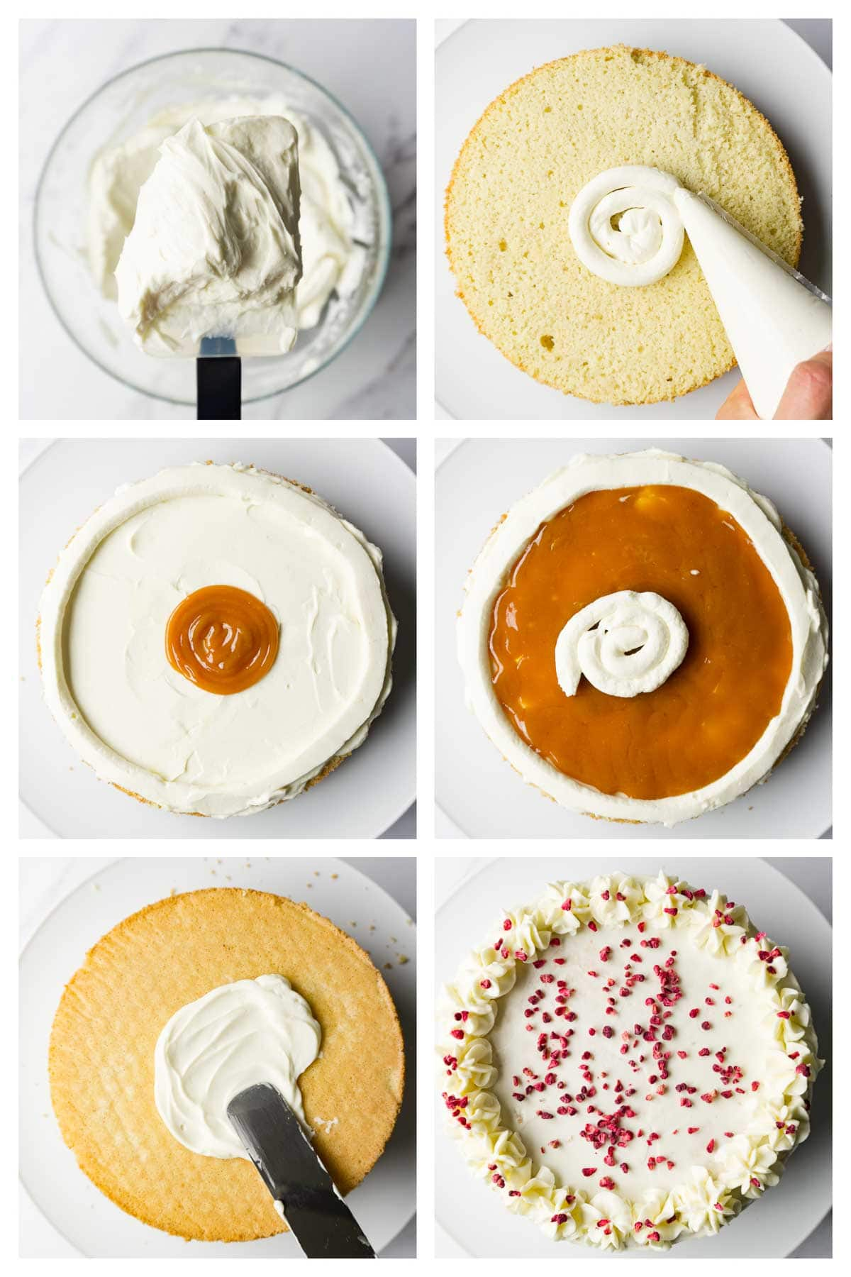 6 steps collage image showing how to assemble keto birthday cake.
