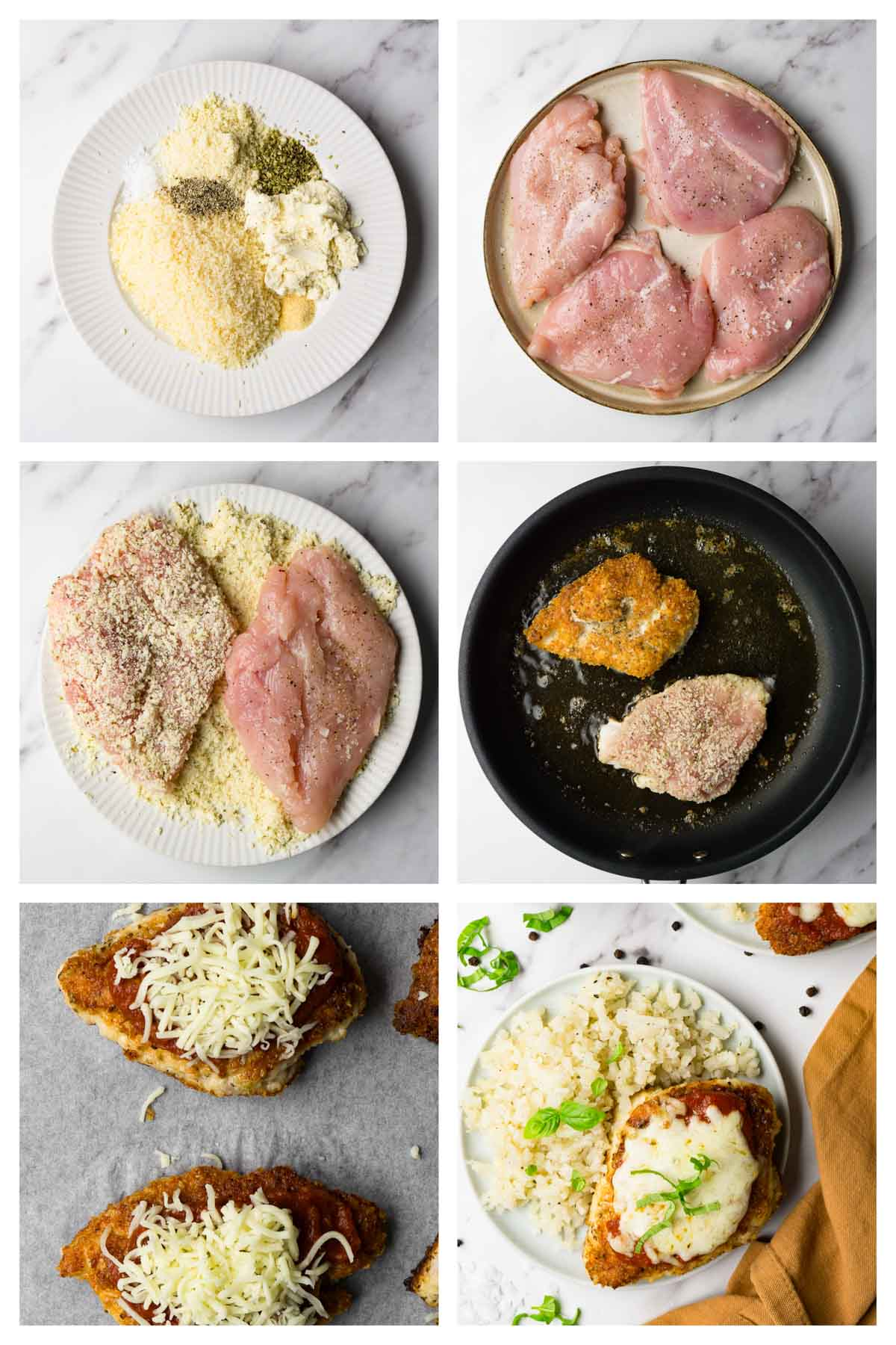 6 steps collage image showing how to make keto chicken parmesan.