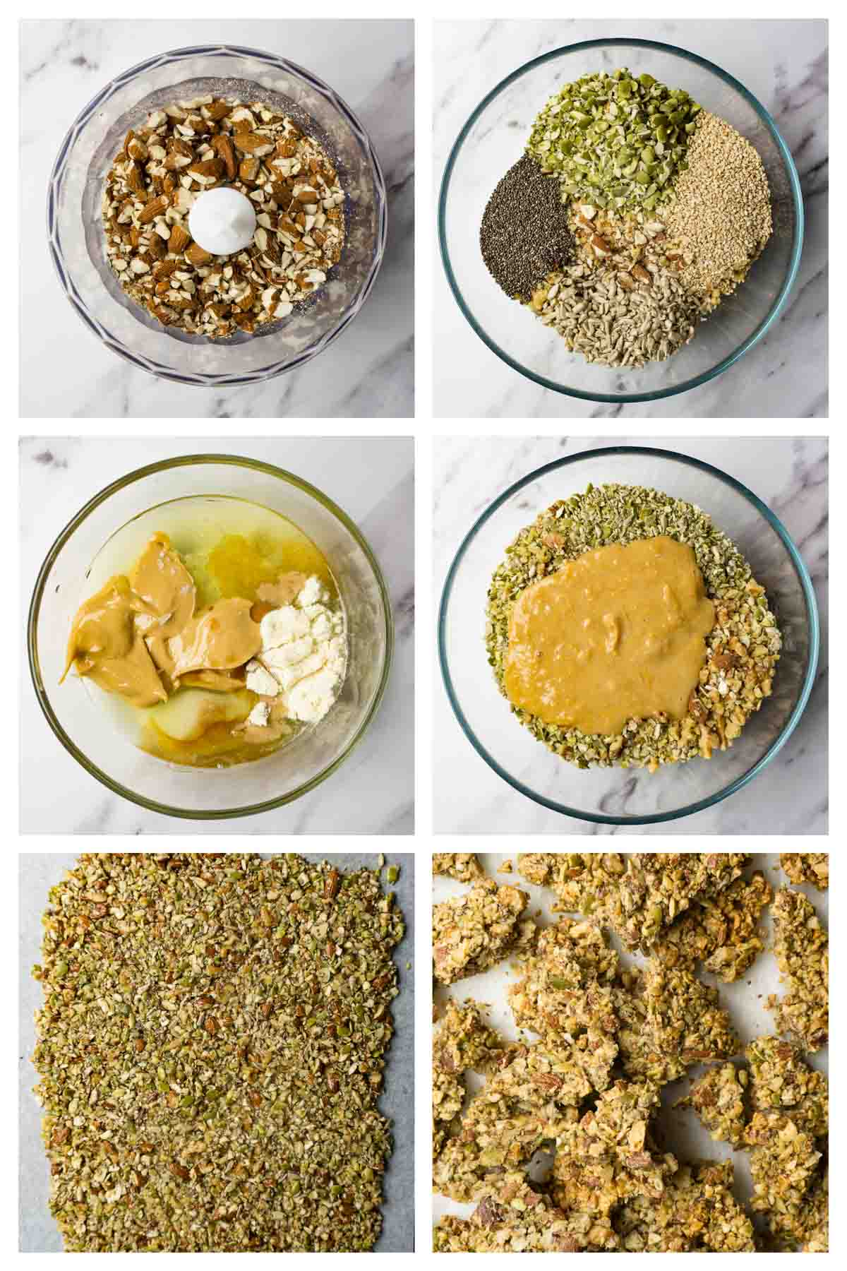 6 steps collage image showing how to make keto granola.