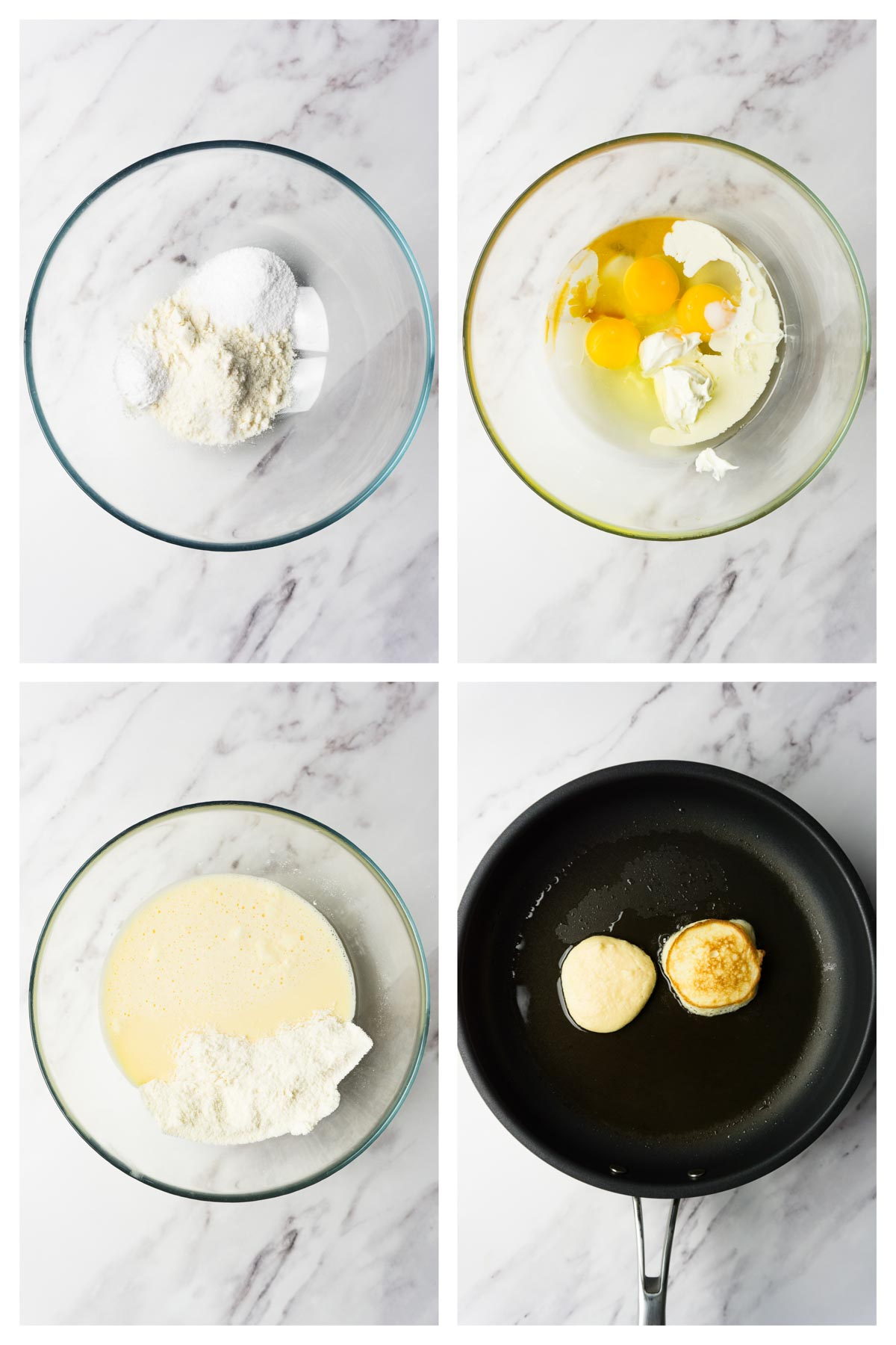 4 images collage picture showing how to make coconut flour pancakes.