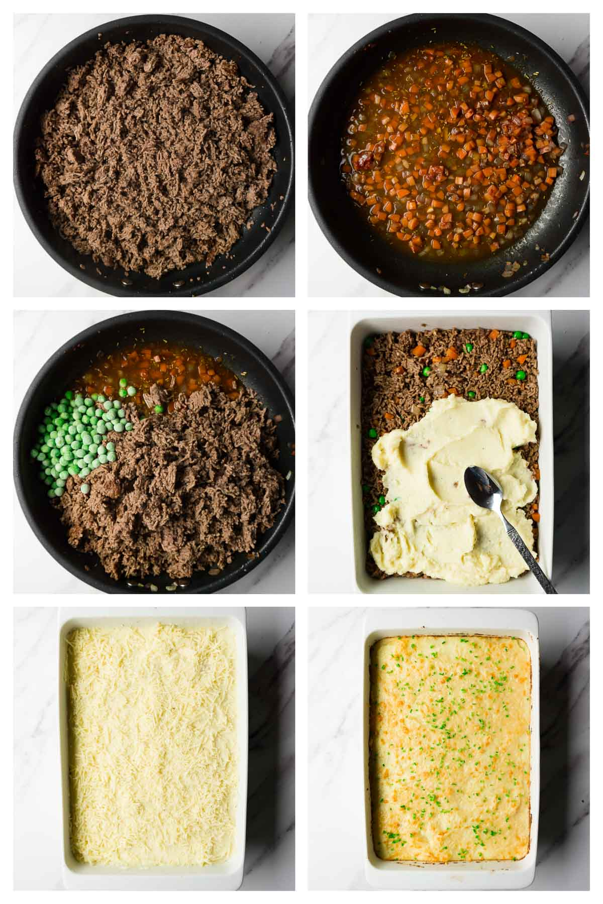 6 steps collage image showing how to assemble keto shepherd's pie.
