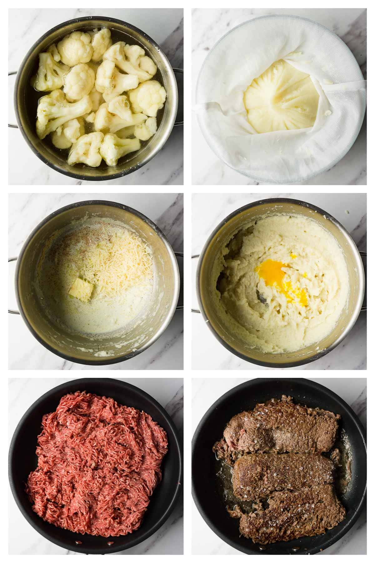 6 steps collage image showing how to make mashed cauliflower and meat for keto shepherd's pie.