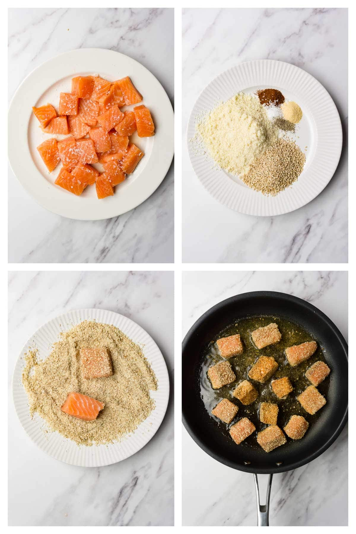 4 images collage picture showing how to make salmon nuggets.